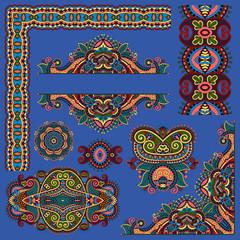 paisley floral design elements for page decoration