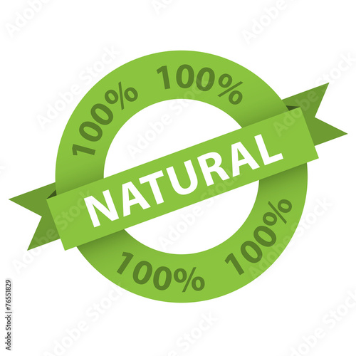"Photographie  ""100% NATURAL"" stamp (vector marketing organic product)"