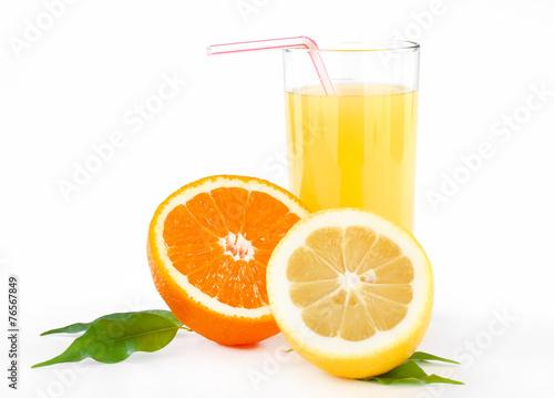 Poster Eclaboussures d eau orange and lemon juice with tubule