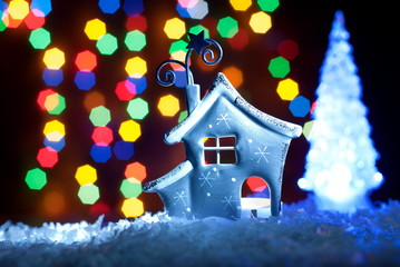 romantic house with a Christmas illumination