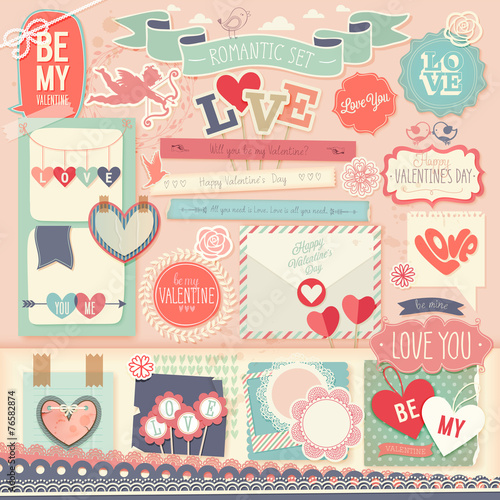 Fotomural Valentine`s Day scrapbook set - decorative elements