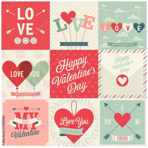 Fotografie, Obraz  Valentine`s day set - emblems and cards. Vector illustration.