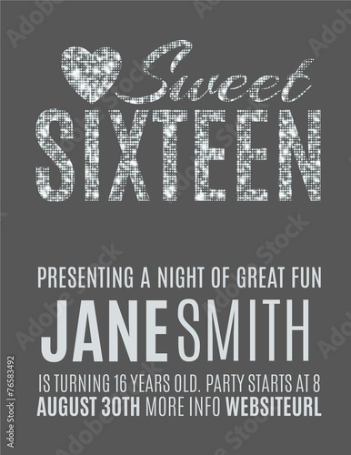 Sweet Sixteen Glitter Party Invitation Flyer Template Design