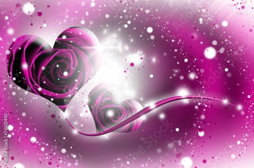 Poster Waterlelies primo piano di una rosa rossa