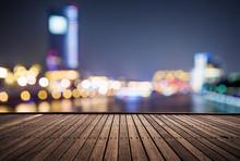 Wooden Platform And Lights Of Night City