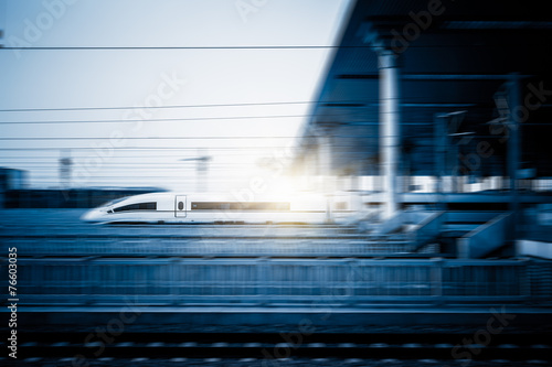 Photo  speeding train