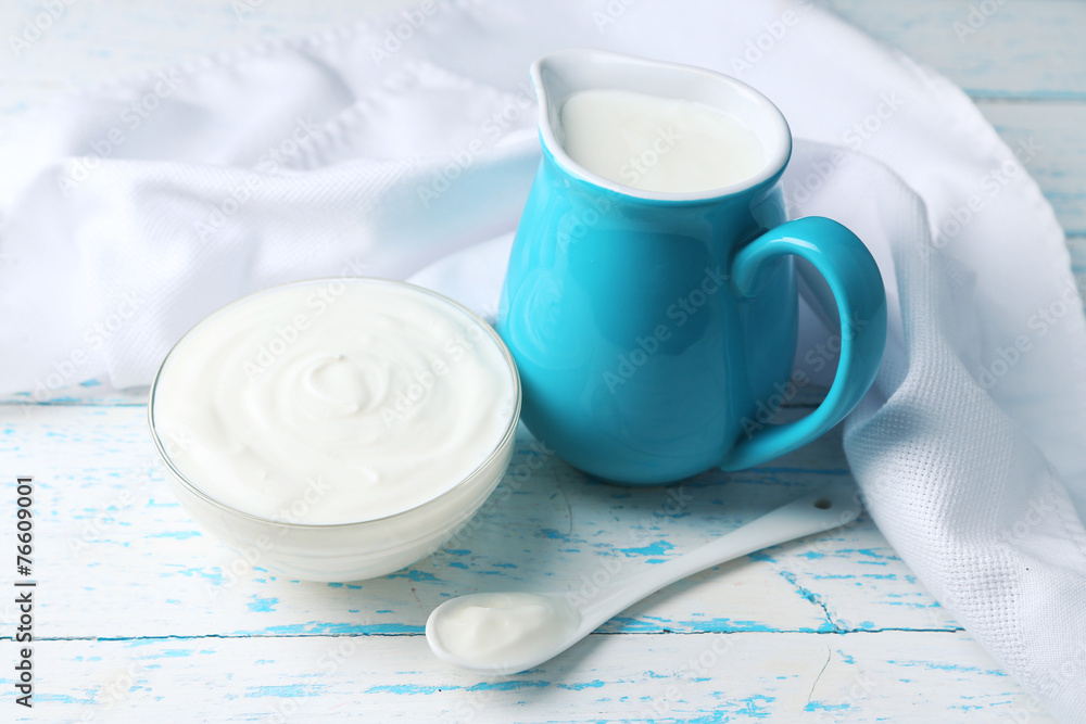 Fototapety, obrazy: Dairy products on wooden table background