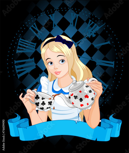 Poster Magie Alice takes tea cup