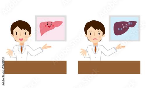 Fotografie, Obraz  肝臓の説明をする医者