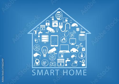 Fotografía  Smart home automation as vector illustration
