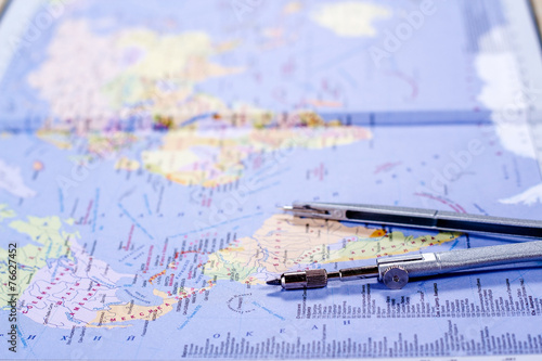 open world map with compasses - Buy this stock photo and