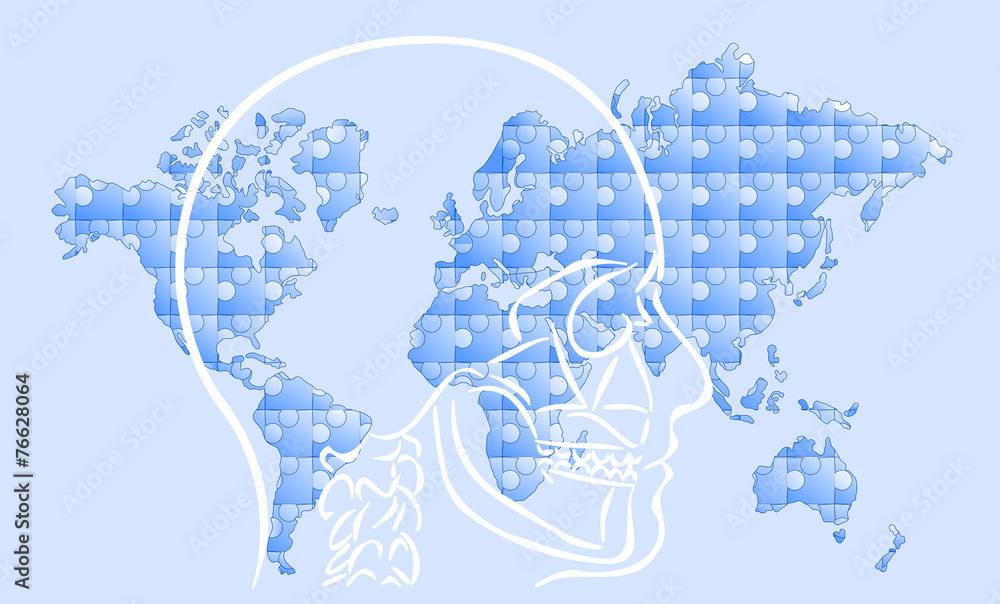 Fototapeta myśl i mapa świata puzzle