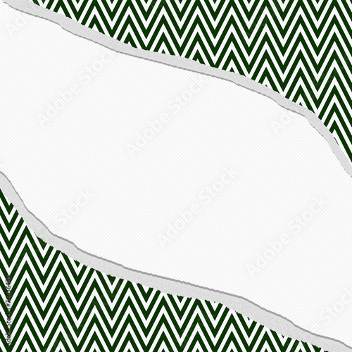Photo  Hunter Green and White Chevron  Zigzag Frame with Torn Backgroun