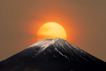 Mt.Fuji With Sun Behind