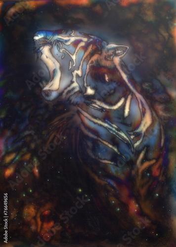 piekna-namalowana-sylwetka-ryczacego-tygrysa-w-abstrakcyjnej-aurze