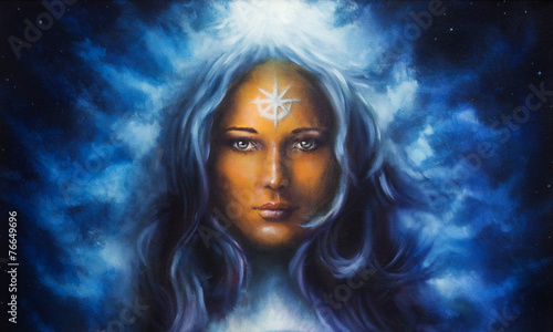 Photo woman goddess with long blue hair holding