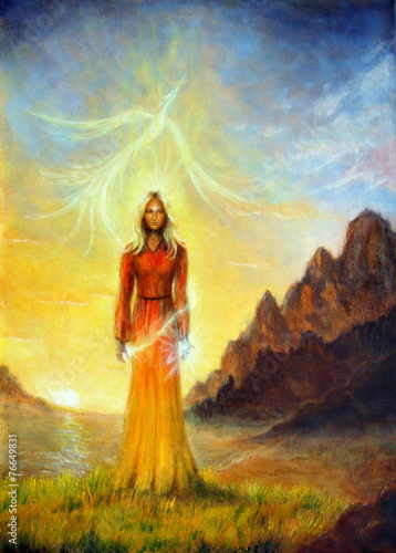 Fotomural An enchanting mystical priestess with a sword of light in a land