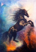 Painting Of A Black Unicorn Da...