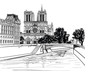 Notre Dame de Paris Cathedral, landscape Seine river, France