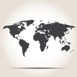 World map with shadow on gray background