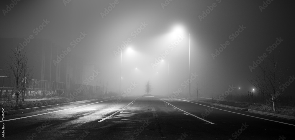 Fototapety, obrazy: Black and white street at night with fog