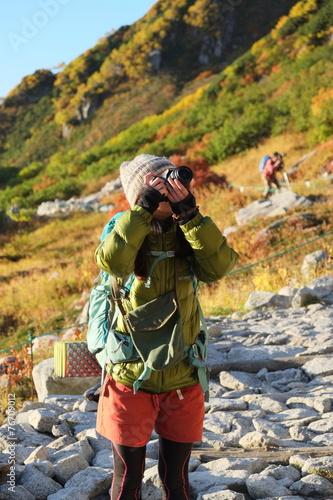 Foto op Plexiglas Alpinisme カメラ女子登山女子