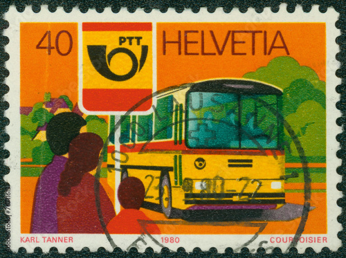 Valokuva  stamp printed by Swiss shows motor bus