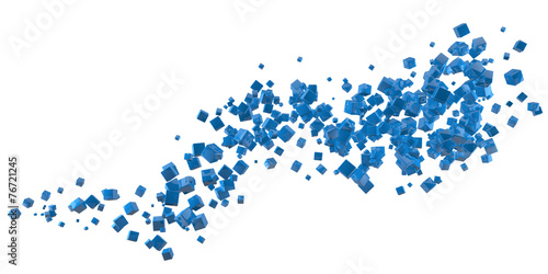Fotobehang Fractal waves Abstract blue cubes flow isolated on white