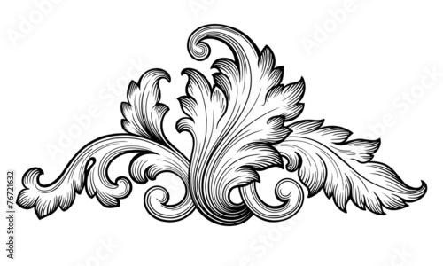 Fotografie, Obraz  Vintage baroque foliage scroll ornament vector