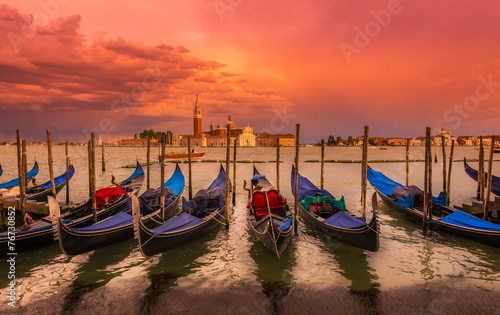 Poster Venise Sunset in San Marco square, Venice. Italy
