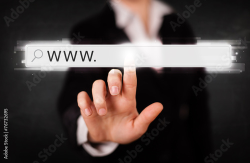 Young businesswoman touching web browser address bar with www si Canvas Print