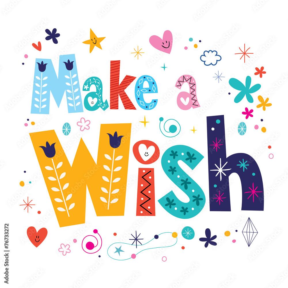 Make a wish decorative type lettering text design Foto ...