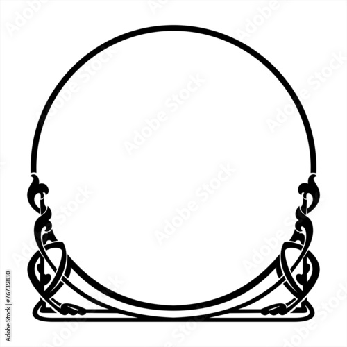 round decorative frame in the art Nouveau style Wall mural