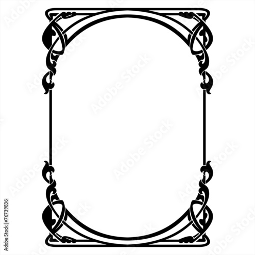 rectangular decorative frame with art Nouveau ornament Wall mural