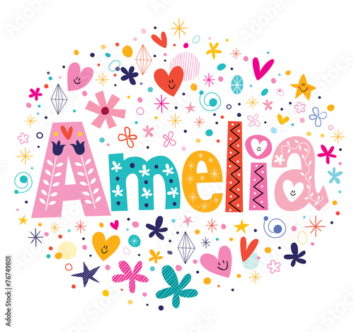 Amelia female name decorative lettering type design Wallpaper Mural