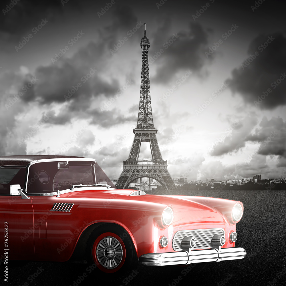 Fototapety, obrazy: Effel Tower, Paris, France and retro red car. Black and white