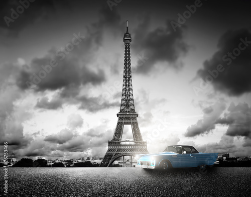 Effel Tower, Paris, France and retro car. Black and white