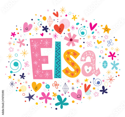 Photo  Elsa female name decorative lettering type design
