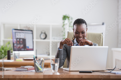 African business woman working Plakát