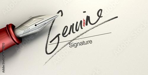 Fotografia, Obraz  Genuine Fake Signature