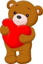 Happy Bear Holding Red Heart Shape Pillow