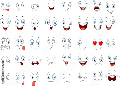 Fotografia  Cartoon of various face expressions