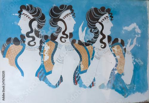 Fotografie, Obraz  Aged fresco of three women profiles in Knossos