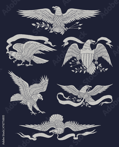 Fotografia Hand Drawn Vintage Eagle Vector Set