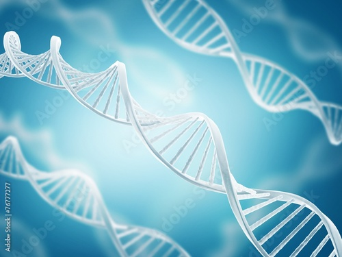 Deoxyribonucleic acid structure on blue background Canvas Print