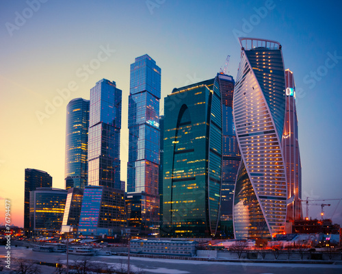 Stickers pour porte Moscou Skyscrapers Buildings of Moscow City business complex at dusk, M