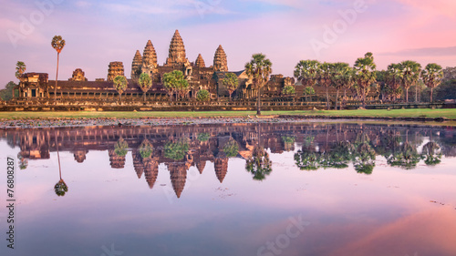 Angkor Wat temple at sunrise, Siem Reap, Cambodia Wallpaper Mural