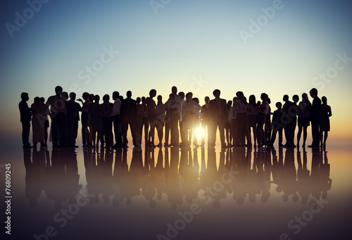 Fotografie, Tablou Silhouettes of Business People Gathering Concept