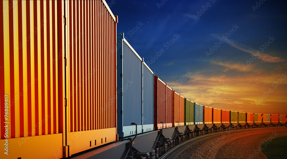 Fototapety, obrazy: wagon of freight train with containers on the sky background
