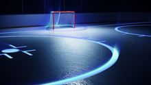 3d Rendered Illustration Of Hockey Ice Rink And Goal